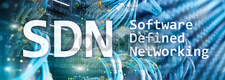 SDN, Software defined networking concept on modern server room background