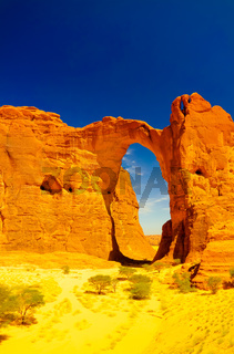 Abstract Rock formation at plateau Ennedi aka Aloba arch in Chad