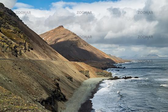 Krossnesfjall mountain on the eastside of Iceland