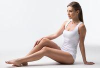 Woman in underwear sitting