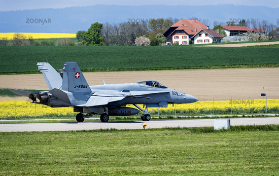 McDonnell Douglas F/A-18C Hornet of the Swiss Air Force before take-off, Payerne, Switzerland