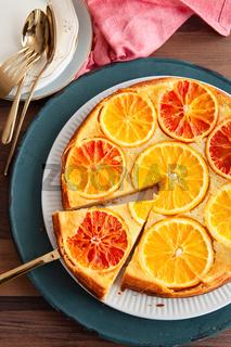 Fruchtiger Kuchen mit Orangen