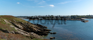 panorama view of Le Conquet and the harbor and port on the coast of Brittany