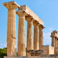Columns of Temple of Aphaea in Aegina
