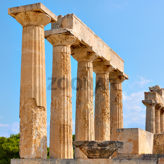 Columns of Temple of Aphaea in Aegina