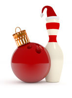 Christmas bowling 3d concept
