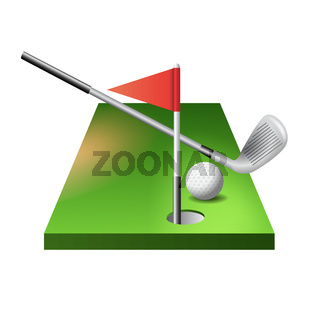 3d golf course with club, ball and red flag in hole isolated on white background, vector illustration.