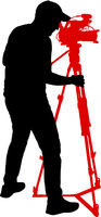 Cameraman with video camera. Silhouettes on white background