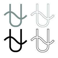 Ophiucus symbol zodiac icon outline set grey black color