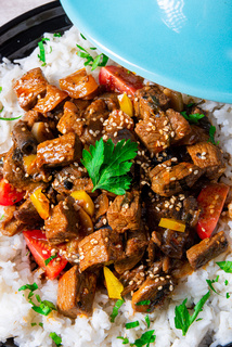 Tajin beef stew with rice paprika and sesame seeds