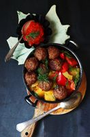 vegetable casserole (cucumber, sweet pepper) with meatballs