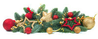 Christmas fir and baubles on white