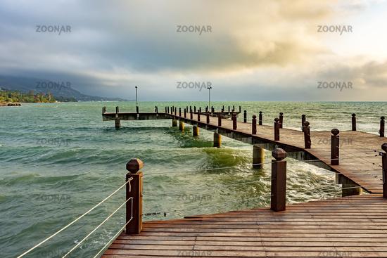 Small pier over the sea on Ilhabela Island