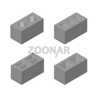 A set of isometric cinder blocks, vector illustration.