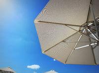 Bright sun umbrellas on the beach