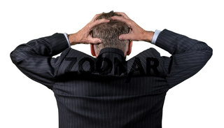 Rear view of senior caucasian man worried and afraid