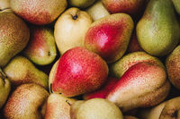 pile of pears on food market - pear background   -