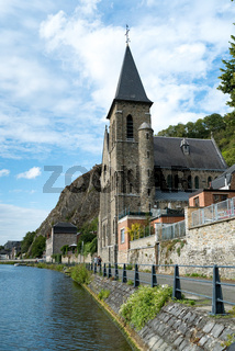 view of the Saint Paul-des-Rivages church and the river Meuse in Dinant