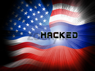 Russia Hacking American Elections Data 2d Illustration