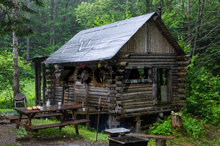 Mystical shack under the rain