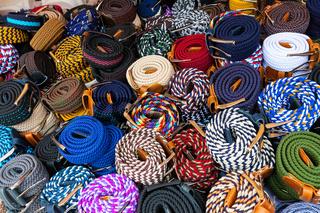 Bogota colorful craft belts Usaquen market
