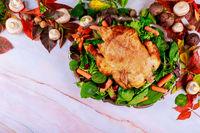 Delicious baked chicken appetizing served for festive dinner Thanksgiving day