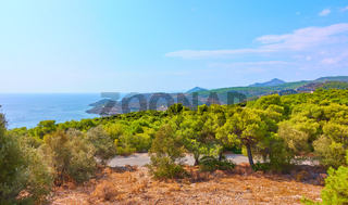 Panoramic view of the coast of Aegina Island