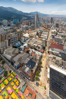Bogota San Diego and Candelaria Districts aerial view in a sunny day