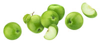 Green apples isolated on white background with clipping path