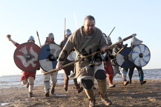 Slavic warriors reeanctors fight