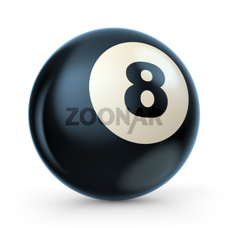 Black pool game ball with number 8. 3D