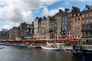 fishing boats in the old part and Vieux Bassin district of Honfleur