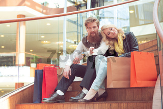 Couple after shopping at the mall