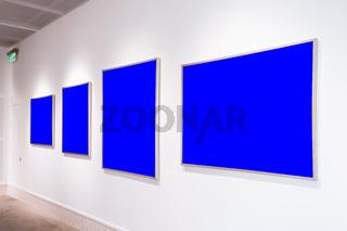 Modern Art Museum Frames Clipping Path Gallery Chroma Blue Spotlights White Minimalist Look