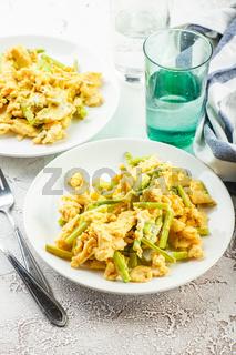 Wild asparagus and scrambled eggs