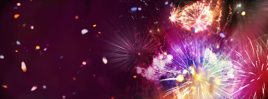 stars and lights pattern of bright sparkling colorful fireworks with motion textures, copyspace, con