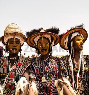 Men dancing Yaake dance and sing at Guerewol festival in InGall village, Agadez, Niger