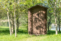 Wooden outhouse for tourists