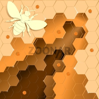 Bee honey paper cut style vector image.