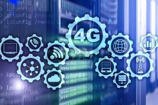 Mobile telecommunication cellular high speed data connection concept: 4G LTE. On server room background.