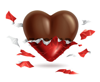 Chocolate heart in torn red foil pack, valentines day candy, sweet gift