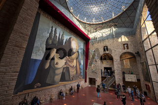 Spain Figueres  2018/12,  Inside view of the Geodesic glass cupola in the Salvador Dalí museum.