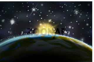 View on sunrise on Earth planet orbit from night side on space background with bright stars and constellations