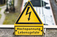 High voltage caution sign