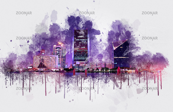 Dubai Creek Buildings - Digital Painting, United Arab Emirates