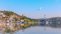The Bosporus, view on the Rumeli Hisari and the Fatih Sultan Mehmet Bridge