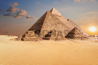 Famous Pyramids of Giza, beautiful sunset photo