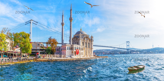 The Ortakoy Mosque panorama, beautiful sea view, Istanbul