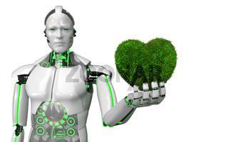 Humanoid Eco Robot Green Heart