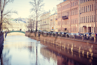 Griboyedov Canal. Embankment of the Griboedov Canal. Russia, St. Petersburg, April 12, 2018